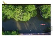 Monk Rowing Boat Along Floating Market Aerial View Carry-all Pouch by Pradeep Raja PRINTS