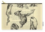 Monkeys Black And White Illustration Carry-all Pouch
