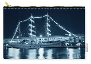 Monochrome Blue Boston Tall Ships At Night Boston Ma Carry-all Pouch