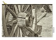 Montana Old Wagon Wheels In Sepia Carry-all Pouch