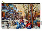Montreal Hockey Game With 3 Boys Carry-all Pouch