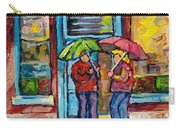 Montreal Rainy Day Paintings April Showers Umbrella Conversation At Wilensky's Deli C Spandau Quebec Carry-all Pouch