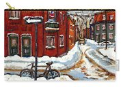 Montreal Street In Winter La Ville En Hiver Buy Montreal Paintings Petits Formats Peintures A Vendre Carry-all Pouch