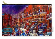 Montreal Street Scene Paintings Hockey On De Bullion Street   Carry-all Pouch