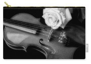 Moody Violin And Rose In Black And White Carry-all Pouch