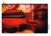 Moody Violin With Peonies Carry-all Pouch