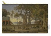 Moonlit Scene Of Indian Figures And Elephants Among Banyan Trees. Upper India Carry-all Pouch
