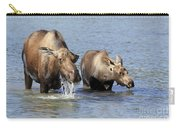 Moose Mama With Her Calf Carry-all Pouch