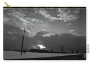 Morning Train In Black And White Carry-all Pouch