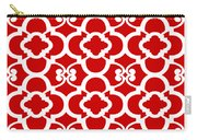 Moroccan Floral Inspired With Border In Red Carry-all Pouch