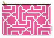 Moroccan Key With Border In French Pink Carry-all Pouch