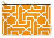Moroccan Key With Border In Tangerine Carry-all Pouch