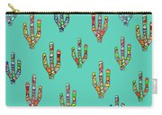 Mosaic Cacti On Aqua Carry-all Pouch