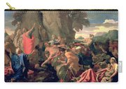Moses Striking Water From The Rock Carry-all Pouch by Nicolas  Poussin