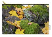 Mossy Stones And Maple Leaves Carry-all Pouch