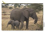 Mother And Baby Elephant Carry-all Pouch