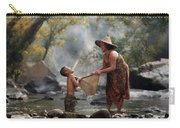 Mother And Son Are Happy With The Fish In The Natural Water Carry-all Pouch