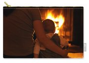 Mother And Son Sitting In Front Of A Firepalce Carry-all Pouch