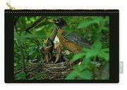 Mother Robin And Her Young Carry-all Pouch