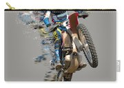 Motocross Rider With Flying Pieces Carry-all Pouch