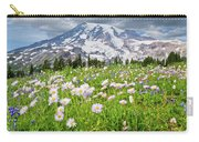 Mount Rainier And A Meadow Of Aster Carry-all Pouch