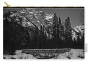 Mountain And Bridge Black And White Carry-all Pouch