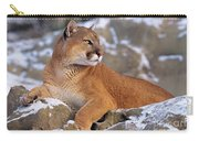 Mountain Lion On Snow-covered Rock Outcrop Carry-all Pouch