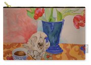 Mountain Lion Skull Tea And Tulips Carry-all Pouch