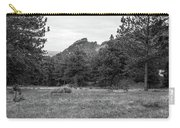 Mountain Peak Through The Trees In Black And White Carry-all Pouch