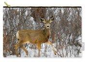Mule Deer Portrait In Heavy Snow Carry-all Pouch