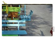 Multi-colored Benches On The Pedestrian Zone Carry-all Pouch