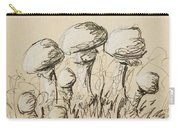 Mushrooms On Toned Paper With Charcoal Carry-all Pouch