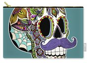 Mustache Sugar Skull Carry-all Pouch by Tammy Wetzel