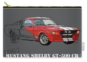 Mustang Shelby Gt500 Red, Handmade Drawing, Original Classic Car For Man Cave Decoration Carry-all Pouch
