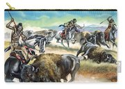 Native American Indians Killing American Bison Carry-all Pouch
