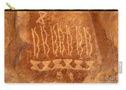Native American Petroglyph On Orange Sandstone Carry-all Pouch