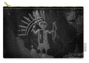 Native American Warrior Petroglyph On Sandstone Carry-all Pouch