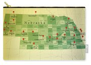 Nebraska Map Square Cities Straight Pin Vintage Carry-all Pouch