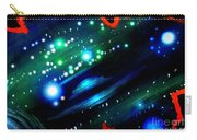 Neon Stars, Green Galaxy And Ufo Carry-all Pouch