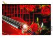 Neons Violin With Roses Carry-all Pouch