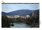 Neretva River And Mostar City And Hills With Mosque Minaret Bosnia Herzegovina Carry-all Pouch
