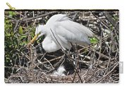 Nesting Great Egret With Chick Carry-all Pouch