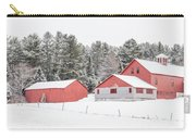 New England Farm With Red Barns In Winter Carry-all Pouch