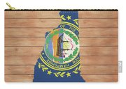 New Hampshire Rustic Map On Wood Carry-all Pouch