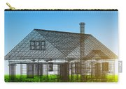 New House Wireframe Project On Green Field Carry-all Pouch