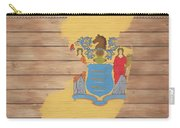 New Jersey Rustic Map On Wood Carry-all Pouch