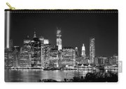 New York City Bw Tribute In Lights And Lower Manhattan At Night Black And White Nyc Carry-all Pouch