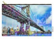 New York City Manhattan Bridge Blue Carry-all Pouch