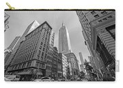 New York Fifth Avenue Taxis Empire State Building Black And White Carry-all Pouch