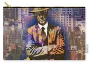 New York Man Seated City Background 1 Carry-all Pouch